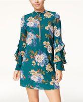 Be Bop Juniors' Printed Ruffle-Sleeve Shift Dress