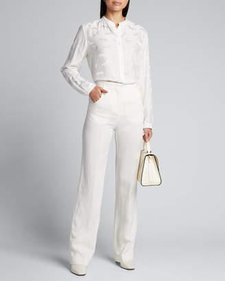 Stella McCartney Horse-Jacquard Satin Button-Front Blouse