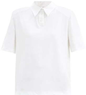 ATTICO Padded-shoulder Cotton-jersey Polo Shirt - White