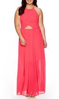 Decree Sleeveless Cut-Out Halter Maxi Dress - Juniors Plus