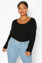 boohoo Plus Crew Neck Knitted Long Sleeve Jumper