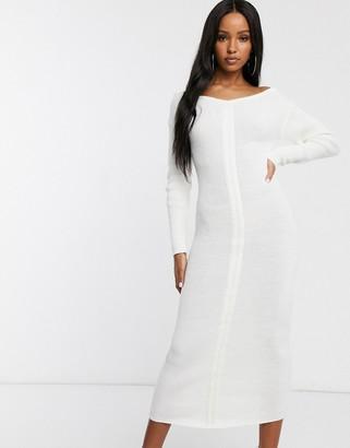 Fashionkilla knitted off shoulder midi dress in ivory