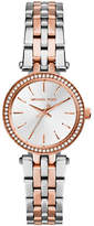 Michael Kors Petite size Rose Gold Tone and Silver Tone Stainless Steel Darci Three Hand Glitz Watch
