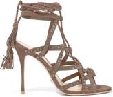 Schutz Lydia leather-trimmed suede sandals