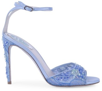 Rene Caovilla Crystal-Embellished Lace & Leather Peep-Toe Sandals