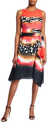 Natori Safari Sleeveless Handkerchief Dress