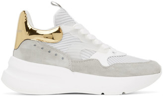 Alexander McQueen Grey and Gold Rib Suede Sneakers