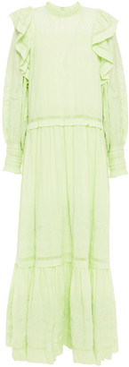 Ulla Johnson Ruffled Embroidered Cotton Maxi Dress