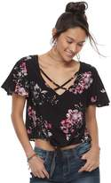 Mudd Juniors' Floral Tie Front Crop Top