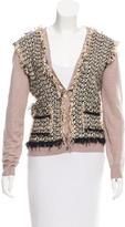 Lanvin Tweed-Panel Linen Cardigan