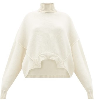 Golden Goose Oversized Cropped Roll-neck Sweater - Womens - Ivory