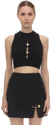 Versace VISCOSE BLEND KNIT CROP TOP