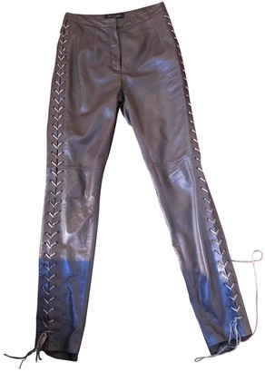 Trussardi Brown Leather Trousers for Women
