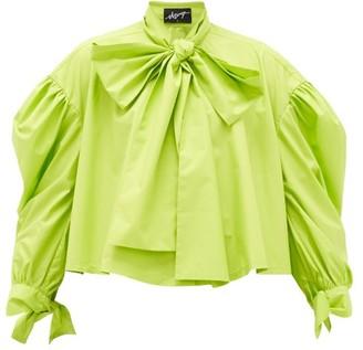 Elzinga - Pussy-bow Balloon-sleeved Technical-poplin Blouse - Green