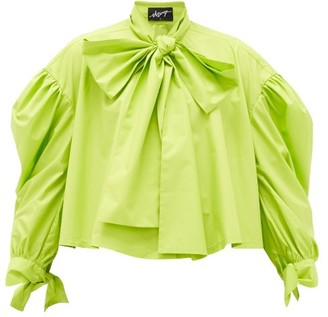 Elzinga - Pussy-bow Balloon-sleeved Technical-poplin Blouse - Womens - Green