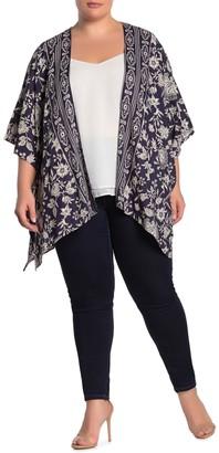 Angie Printed Open Front Kimono (Plus Size)