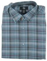 Calvin Klein Mens Button Down Long Sleeve Shirt, Grey