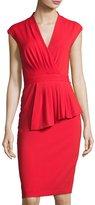 Badgley Mischka Cap-Sleeve Knit Peplum Dress, Red