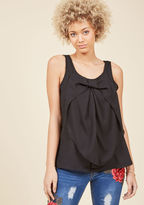 ModCloth Hello, Bow! Sleeveless Top in Onyx in 1X