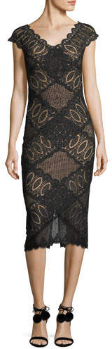 Jovani Short-Sleeve V-Neck Geometric Lace Cocktail Dress
