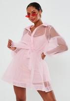 Missguided Blush Organza Shirt Dress