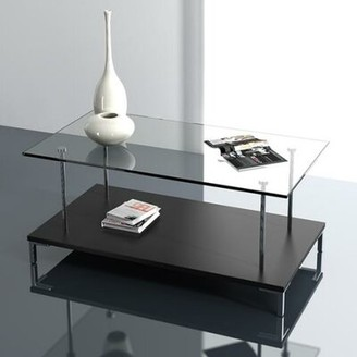 Wade Loganâ® McKenney Glass Top Coffee Table Wade LoganA Color: Wenge