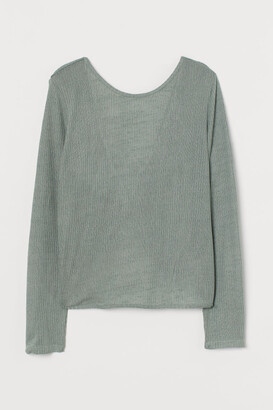 H&M Rib-knit Top - Green