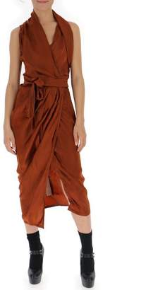 Rick Owens Sleeveless Wrap Midi Dress