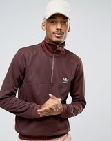 adidas Fallen Future Half Zip Sweat In Burgundy BR1816