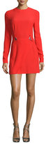 Thierry Mugler Long-Sleeve Embellished-Waist Mini Dress, Red