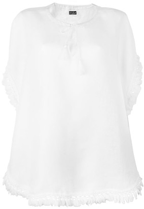 MC2 Saint Barth Pure Linen Tassel Poncho