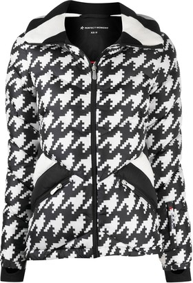 Perfect Moment Padded Chevron Jacket With Houndstooth Print