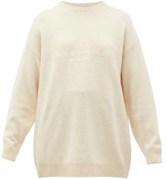 Balenciaga Logo-embroidered Cashmere Sweater - Cream