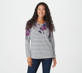 Factory Quacker Printed Floral and Stripe Long-sleeve Top
