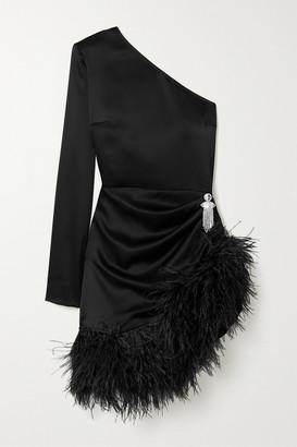 David Koma One-sleeve Feather-trimmed Satin Mini Dress - Black