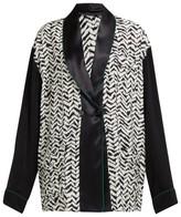 Haider Ackermann Greenfield Chevron-stripe Crepe Jacket - Womens - Black White