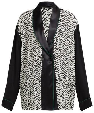 Haider Ackermann Greenfield Chevron-stripe Crepe Jacket - Black White