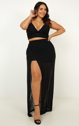 Showpo Body Language two piece set in black - 14 (XL) Top & Skirt Sets