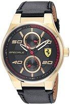 Ferrari Scuderia Men's 'SPECIALE MULTI' Quartz Gold-Tone and Leather Casual Watch, Color:Black (Model: 0830417)