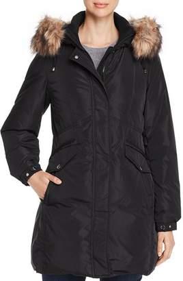 Kate Spade Fine Oxford Faux Fur-Trim Parka