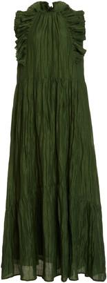 Sea Tessa Ruffled Crinkled-Taffeta Maxi Dress