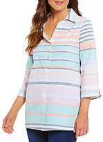 Westbound Stripe 3/4 Sleeve Button Tunic