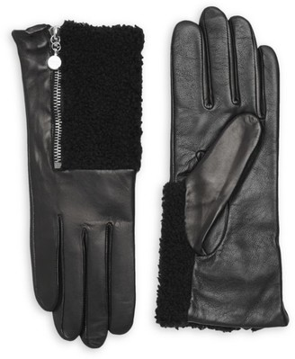 Carolina Amato Touch Tech Metallic Leather & Shearling Gloves