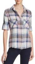 Bella Dahl Fray Hem Split Back Plaid Shirt