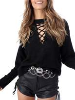 Simplee Apparel Simplee Women's Long Sleeve Halter Lace Up V Neck Cable Knit Sweater Pullover