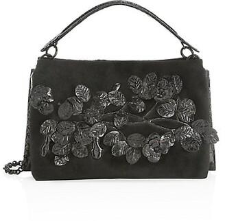 Nancy Gonzalez Viviana Floral Crocodile Top Handle Bag