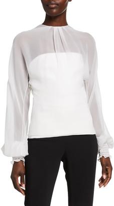 Cushnie Chiffon Long-Sleeve Overlay Illusion Top