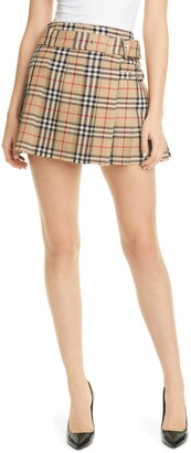 Burberry Carmen Vintage Check Pleated Wool Mini Kilt