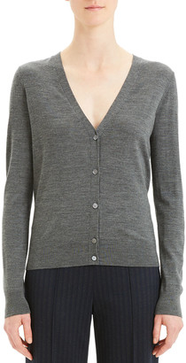 Theory V-Neck Button-Front Regal Wool Cardigan