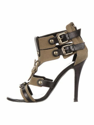 Balmain Leather T-Strap Sandals Green